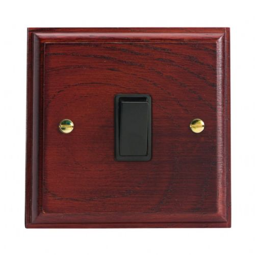 Varilight XK1MB Kilnwood Mahogany 1 Gang 10A 1 or 2 Way Rocker Light Switch